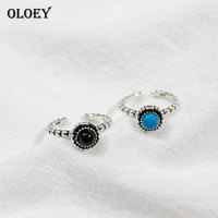 OLOEY Vintage Turquoise Black Agate Finger Rings For Women Real 925 Sterling Silver Opening Adjustable Ring