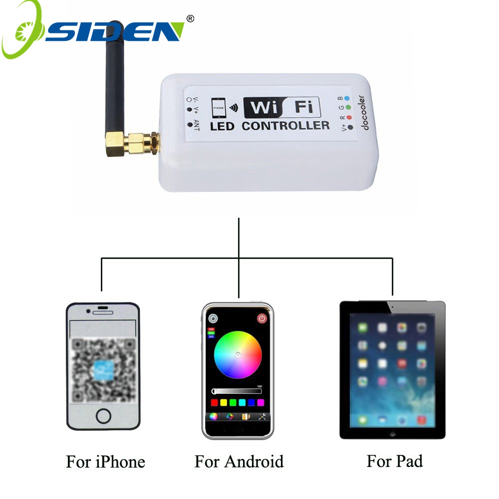 Osiden Wireless WiFi RGB LED Strip Light Controller for Android system and IOS system wireless WiFi LED Controller mini wifi 01 smart wireless 3 ch wi fi ios android phone controlled rgb light strip controller