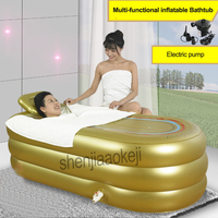 1pc Single Inflatable Bathtub Adult Thicken Folding Bathtub Home SPA Plastic Insulation Bathtub With Cushion+Electric Pump