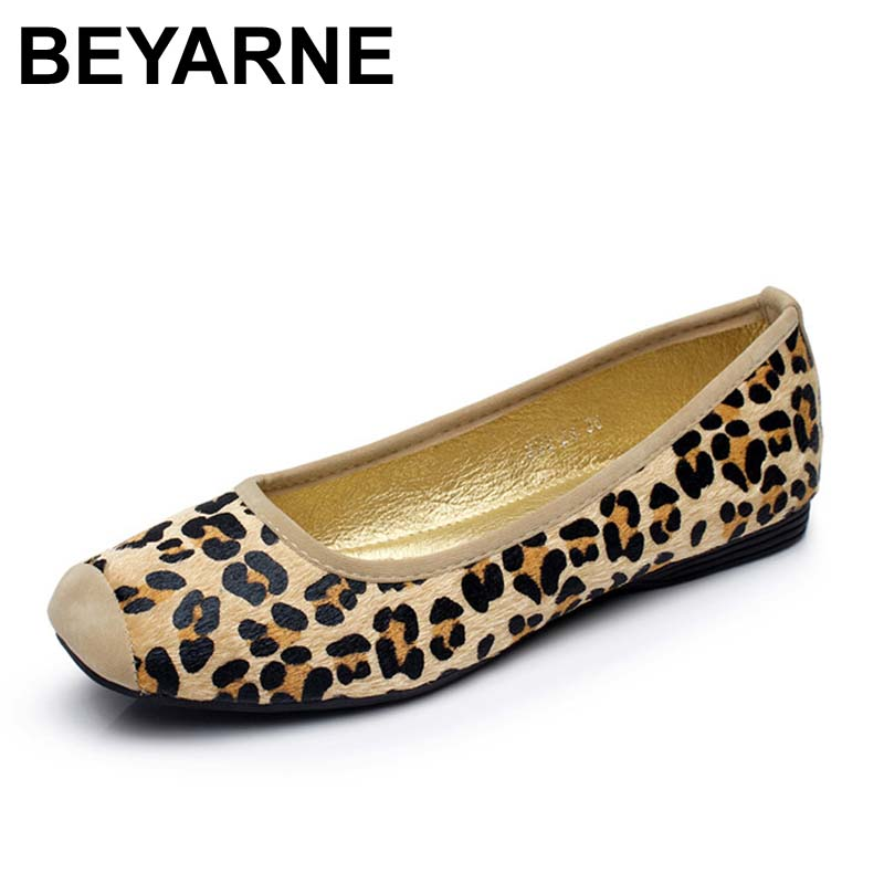 BEYARNE Leopard Brand Luxury Shoes Women Flats Square Toe Slip On Loafers Ladies Shoes Japanese Fashion Plus Size Women Shoes beyarne spring summer women moccasins slip on women flats vintage shoes large size womens shoes flat pointed toe ladies shoes