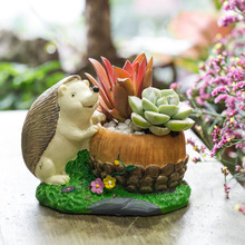Lovely Cartoon Resin Hedgehog Cacti Succulent Plant Flower Herb Pot Cuctus Succulent Planter Tabletop Plant Flowerpot Decorative