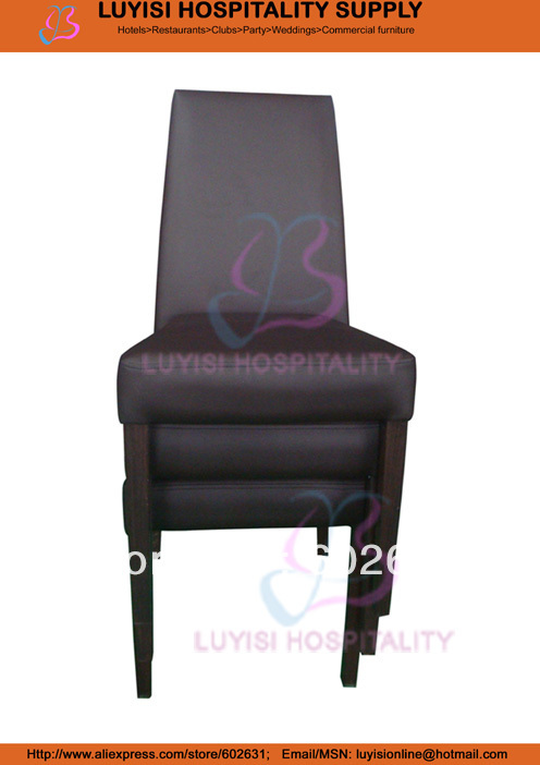 Hot Sale Stacking Pu Upholstered Aluminum Dining Chair LUYISI970