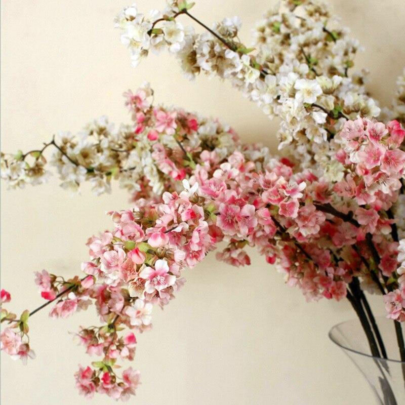 5 piezas decorativas de seda flor de cerezo flores artificiales decoración de boda Sakura flores falsas centros de mesa decoración Flor de melocotón-in Flores artificiales y secas from Hogar y Mascotas    1