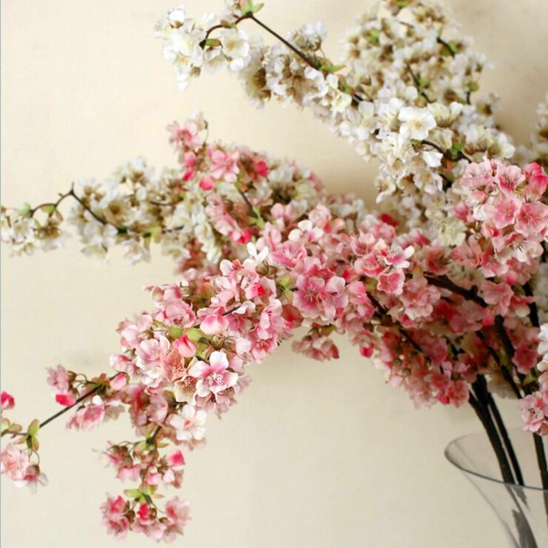 5 stücke Dekorative Seide Kirschblüte Künstliche Blumen Hochzeit Dekoration Sakura Gefälschte Blumen Mittelstücke Decor Pfirsich Blume-in Künstliche & getrockneten Blumen aus Heim und Garten bei  Gruppe 1
