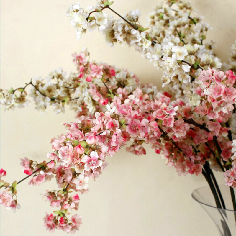 Buy 5pcs decorative silk cherry blossom for Artificial flowers for wedding decoration