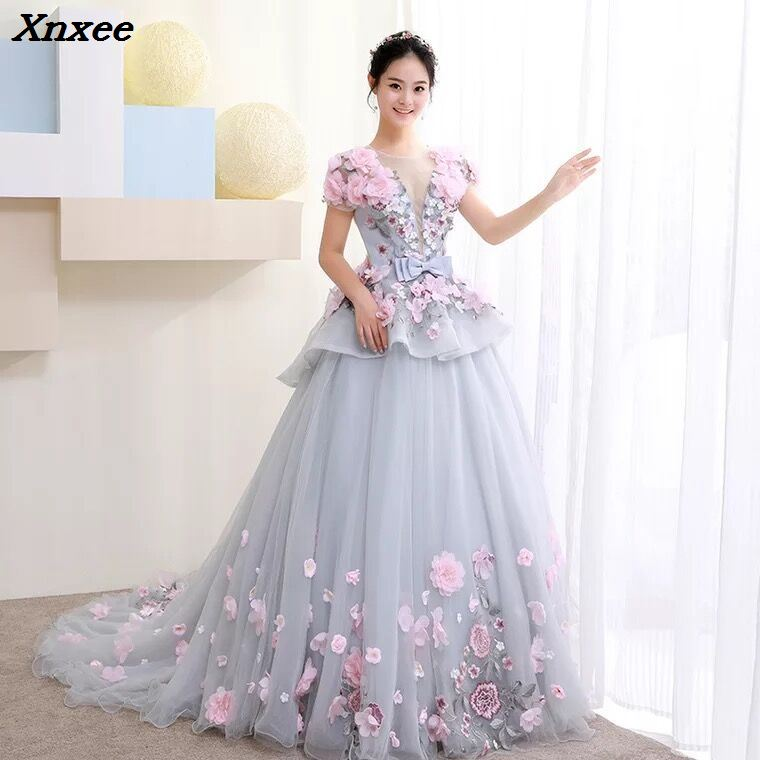 Xnxee New Ball Gown Arabic Dress For Wedding Scoop Hand Flowers Princess Bridal Gowns 2018 vestido