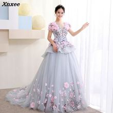 Xnxee New Ball Gown Arabic Dress For Wedding Scoop Hand Flowers Princess  Bridal Gowns 2018 vestido 34be9791d58d
