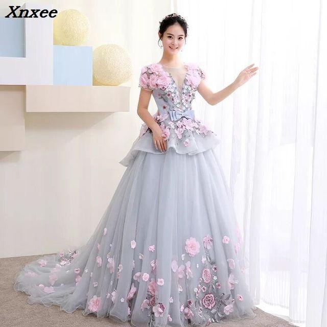 Xnxee New Ball Gown Arabic Dress For Wedding Scoop Hand Flowers Princess Bridal Gowns 2018 vestido de noiva Robe De Mariage