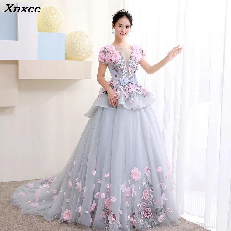 Xnxee nuevo vestido de baile vestido árabe para boda Scoop mano flores princesa vestidos De novia 2018 vestido de noiva bata De mariage-in Vestidos from Ropa de mujer    1