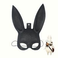 Cute rabbit ears mask cosplay animal mask half face powder rabbit black rabbit mask props