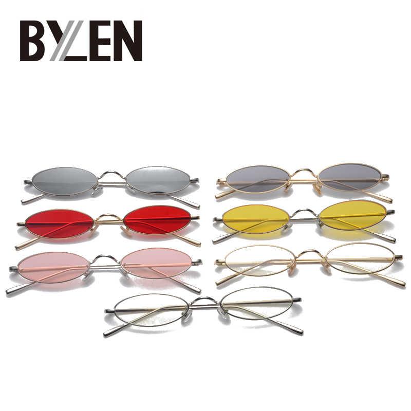 Novo Pequeno Oval de Metal Quadro Óculos De Sol Dos Homens Marca Retro Designer Red Steampunk Do Vintage Rodada Claro Espelho Óculos de Sol para As Mulheres