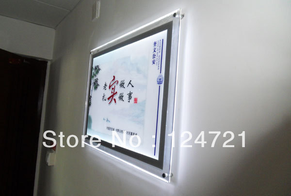 Wall Mount Light Box: Wall mounted acrylic backlit frame led lightbox display crystal A2 size,Lighting
