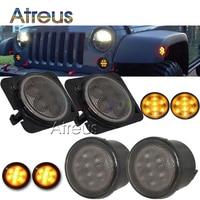 Atreus LED Car Fender Turn Singal For Jeep Wrangler JK 2007 2015 Amber Accessories LED Side Marker lamps bulb kit car styling