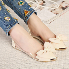 2016 spring and summer pointed toe flat heel sweet bow shoes single shoes women fashion women's flat shoes