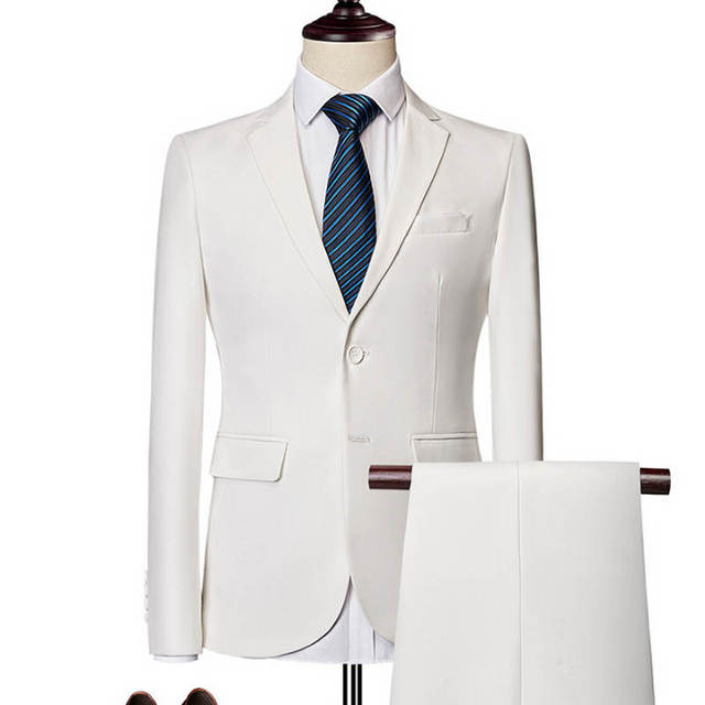Jacket + Pant / 2018 New Men Business Slim Suits Sets Wedding Dress Three-piece Suit Blazers Coat Trousers Waistcoat M-6XL