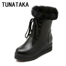 ฤดูหนาวที่อบอุ่นผู้หญิงF Auxขนสบายรองเท้าหิมะลูกไม้ขึ้นข้อเท้าบู๊ทส์สำหรับผู้หญิงแฟชั่นภายในรองเท้าส้นสูง