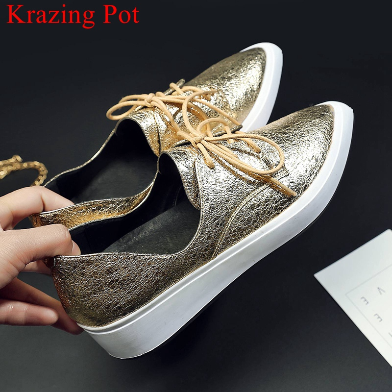 2019 new arrival cow leather Spring shoes lace up pointed toe sneaker increasing casual platform women
