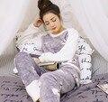 2017 Roupa Interior de Inverno Mulheres Pijama Feminino Pijamas de Flanela Pijamas Enteros Pelúcia Macia Para Mulheres Ropa Interior Mujer