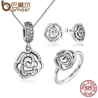 BAMOER Original 925 Sterling Silver Jewelry Set Shimmering Rose Petals Flower Jewelry Sets Sterling Silver Jewelry