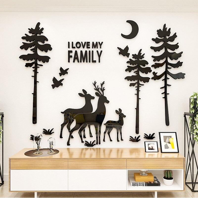 Forêt cerf 3D Yakli cristal décoration murale salon canapé chambre TV fond papier peint peinture exposition