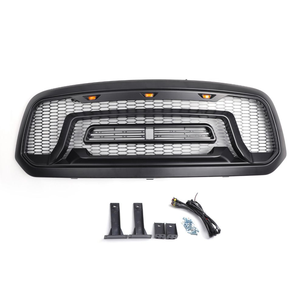 Areyourshop Car LED Grille ABS Honeycomb Bumper Grill Mesh Grille For Dodge Ram 1500 2013-2018 BLK Car Auto Styling Grille