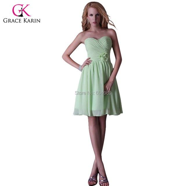 Grace Karin Chiffon Strapless Light Green Knee Length Homecoming Party Dress Short Junior Prom Gown