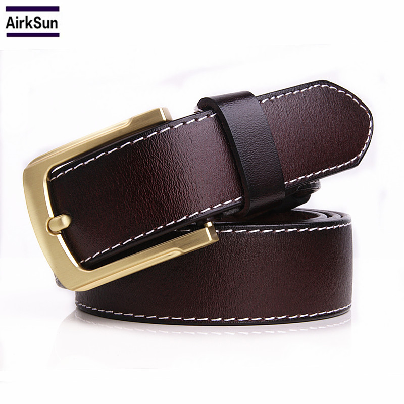 2017 newest men belt 100% genuine leather belt for men full grain leather belt black brown pin buckle belts for jeans cowboy
