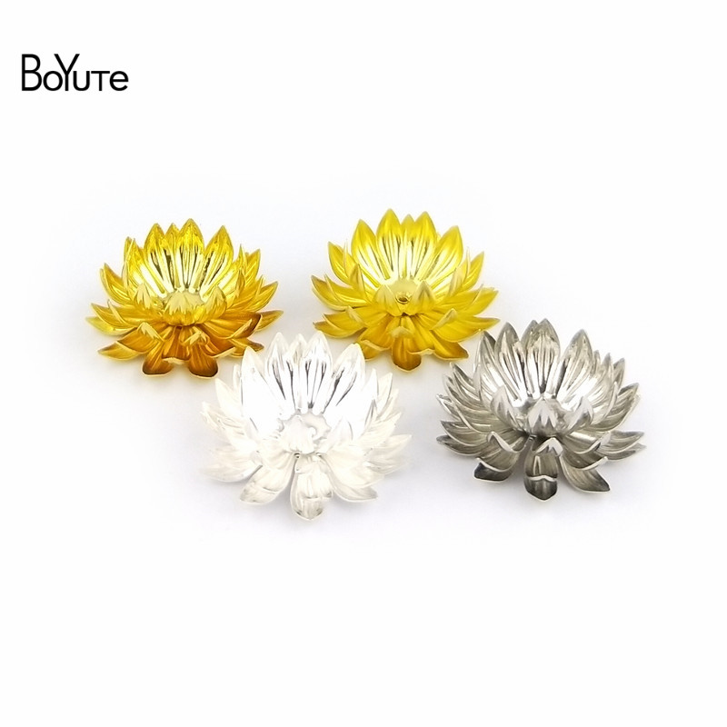 BoYuTe 5 Pieces 30MM Metal Brass Chrysanthemum Flower Decoration Embellishments Diy Hand Made Jewelry Findings Components