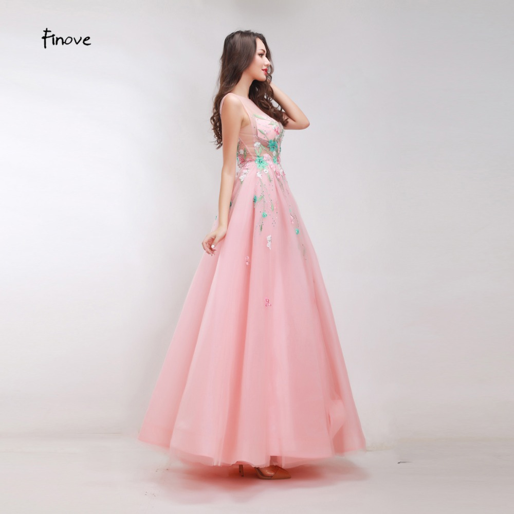 Finove Floral Appliques Beading Prom Dresses 2018 New Styles Gentle ...