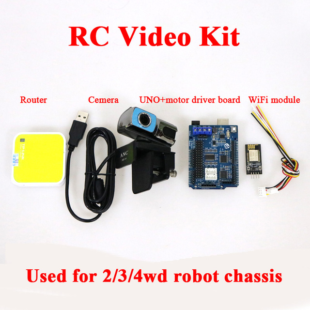 DOIT 2/3/4wd RC Video Controller Kit with UNO+Motor Driver Board+WiFi Module+Cemera+Router for Arduino Smart Robot Tank Car DIY