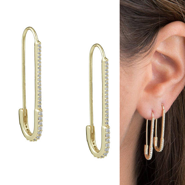 unique designer paperclip safety pin studs fashion elegant women jewelry gold filled delicate cz earring 2018 new