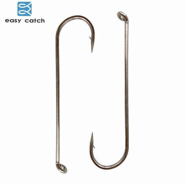 Easy Catch 100pcs 79580 High Carbon Steel Fishing Hooks White Long Shank Streamer Dry Fly Tying for Fishing Hook Size 2 4 6 8 10