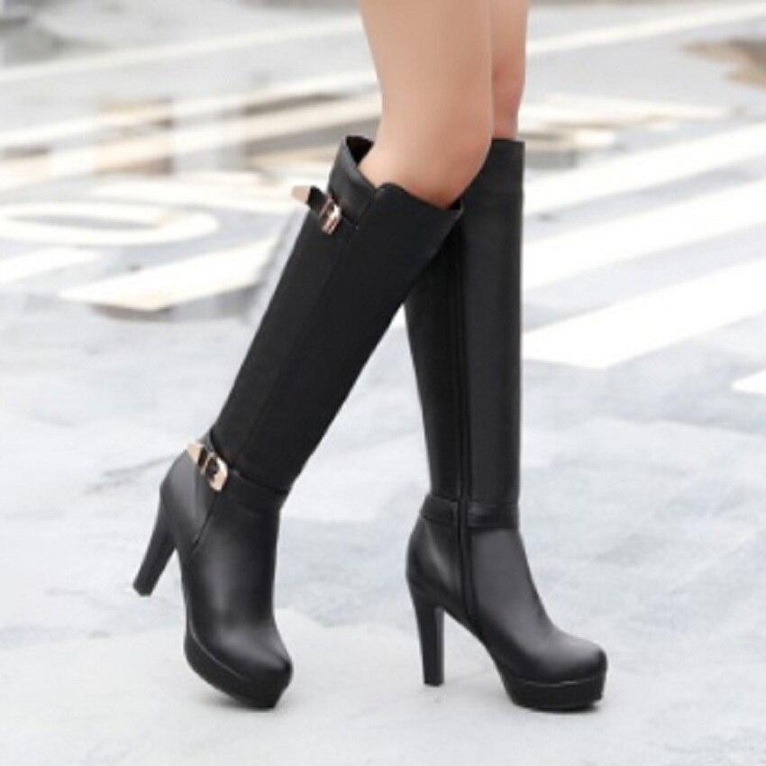 SALCXOI winter women boots high heels PU white black brown female platform shoes solid knee high boots woman free shipping &320 велосипед stels navigator 310 lady 28 2017