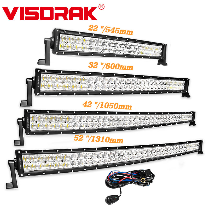 VISORAK 5D 22 32 42 52 inch LED Bar 200W 300W 400W 500W Curved LED Work Light Bar For Tractor OffRoad 4WD 4x4 Car Truck SUV ATV цена