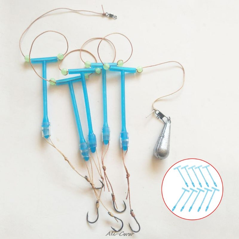 10 Pcs/Set Fishing Hook Hanger Anti Winding Entangle Balance Plastic Holder T Shape Platform Branch Tackle Accessories