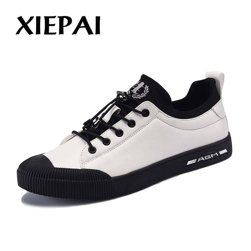 XIEPAI Men Causal Shoes Designer Loafers Size 39-44 Fashion Lace-Up PU Leather Sneakers Men Platform Shoes Black White