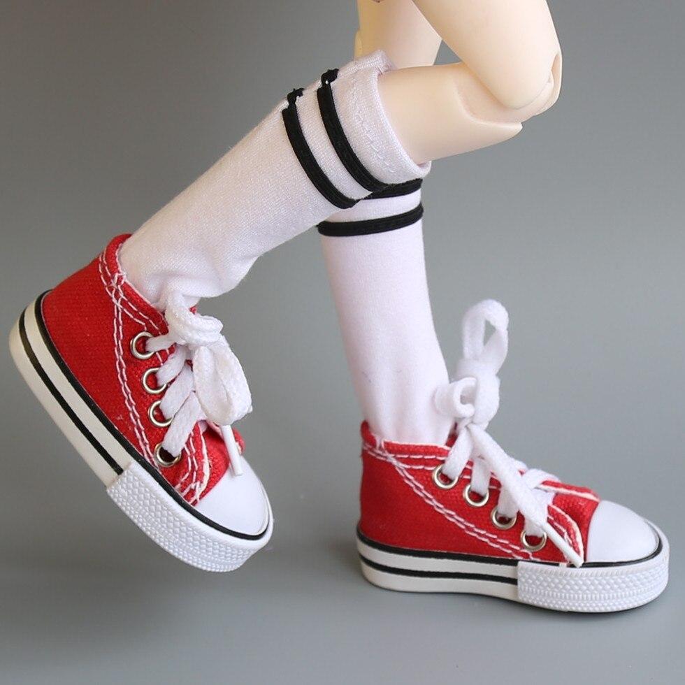 Оптовая продажа разных цветов 7,5 см парусиновая обувь для куклы BJD модная мини игрушка обувь 1/6 Bjd обувь для русской куклы аксессуары