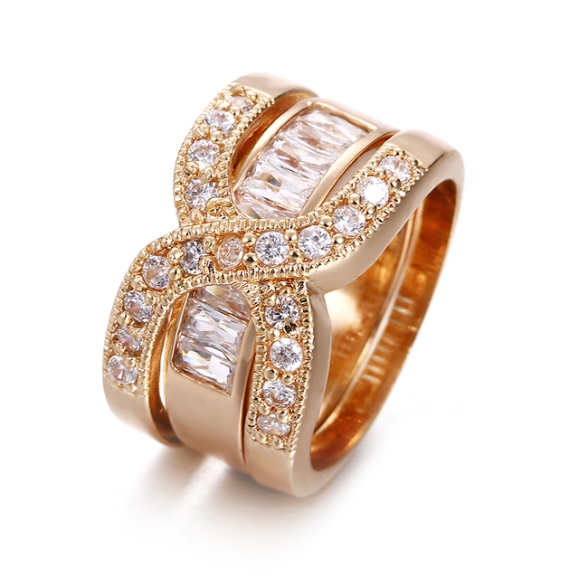 2 Pcs Set High Quality Copper With Pave Setting Rings Set For Women