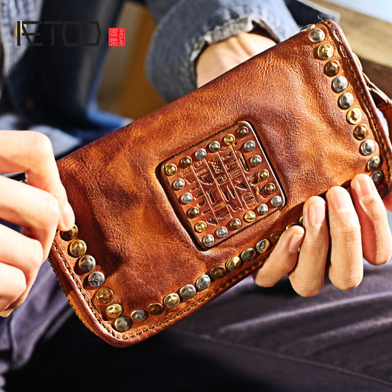 AETOO New personality first layer of leather long section of large capacity leather wallet fashion rivets zipper Vintage wallet zuoyi crocodile leather original zipper snap multifunctional in large capacity and long wallet