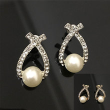 Fashion Rhinestone Crystal Stud Earrings Faux Pearl Fine Earrings Jewelry For Women Girls CX17