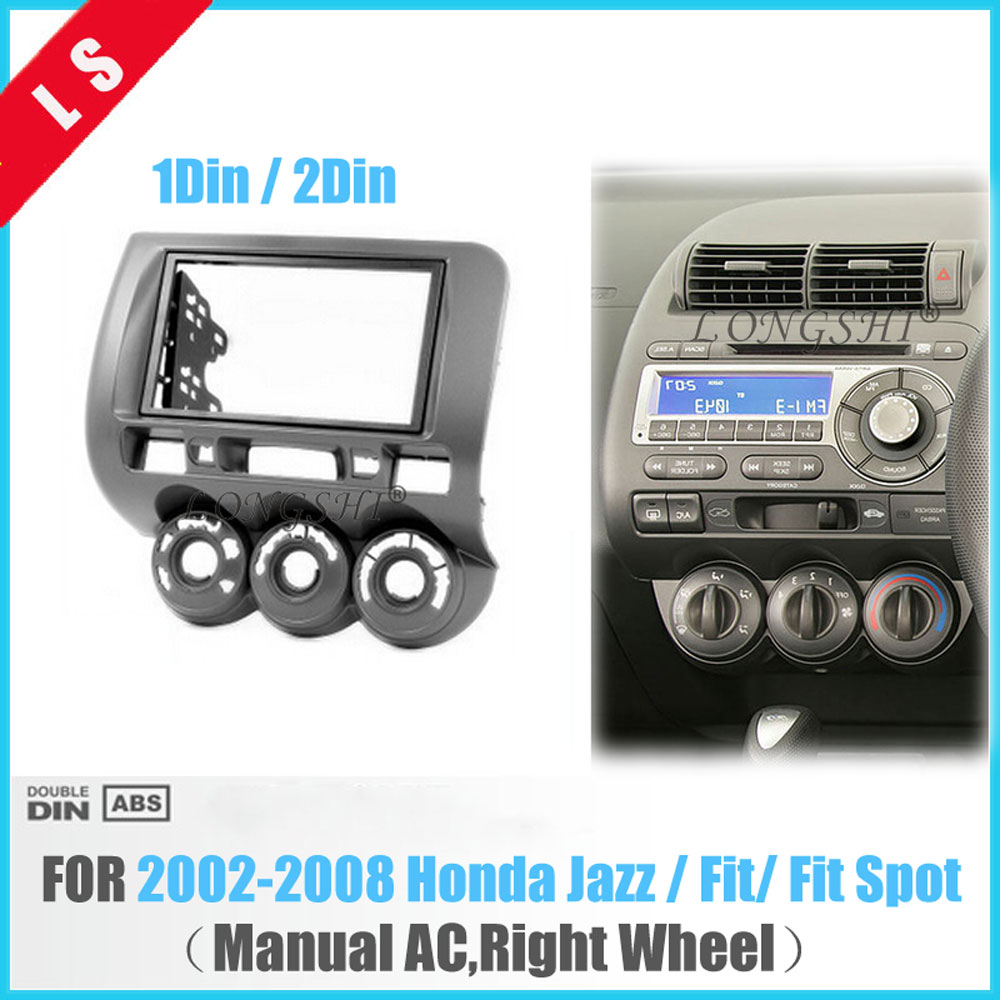 2Din Car Dash Kit for 2002-2008 Honda Fit Spot Jazz RHD(Manual AC, Right Wheel)DVD Frame Fascia Panel Front Bezel Bezel ,2 DIN