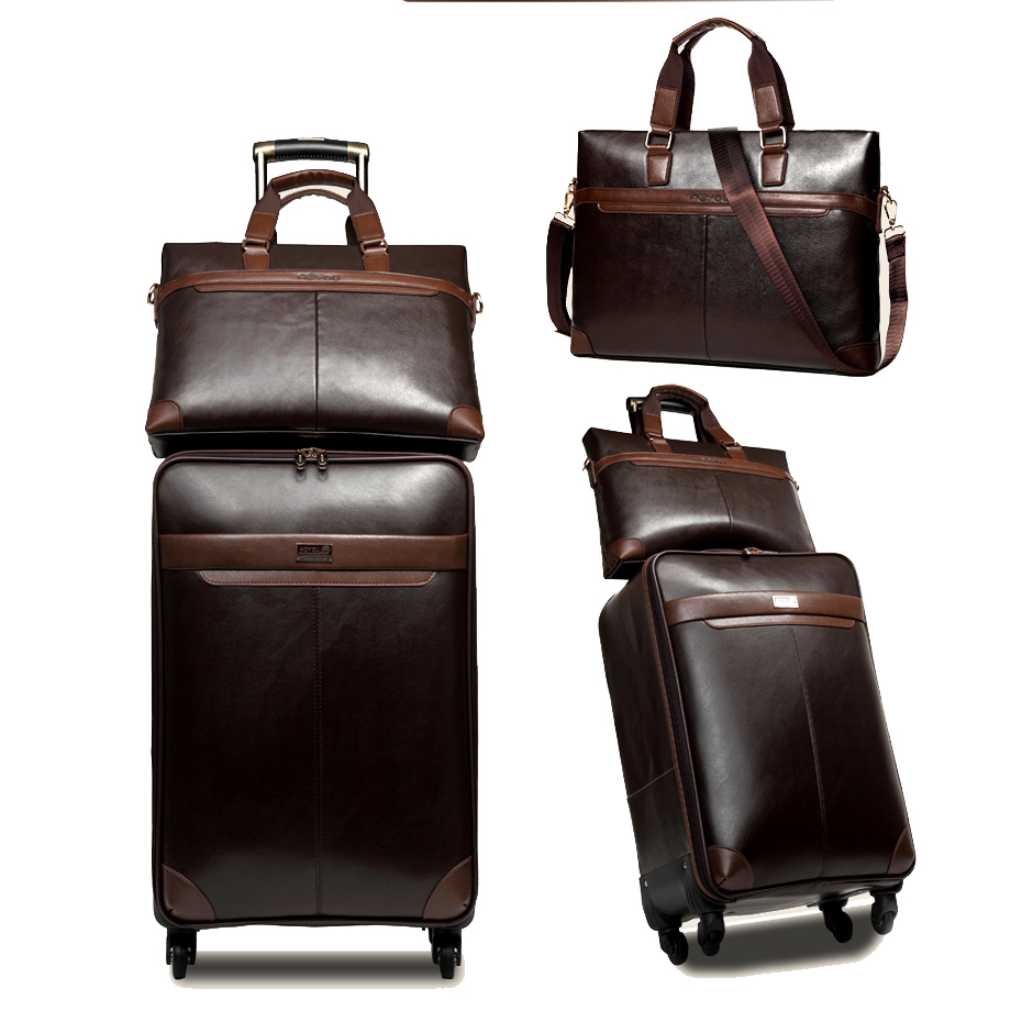 Men Business PU Leather Rolling Luggage Set Spinner High capacity Trolley Suitcase Wheels 16/18 inch Carry On Travel Bag Trunk oxford rolling luggage spinner men business suitcase wheels 20 inch carry on trolley password 30 inch high capacity travel bag