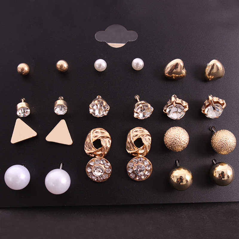 12 Pairs/Lot Trendy Elegant Pearl Stud Earring Set Korean Fashion Rhinestone Crystal Punk Earring Mix Ear Jewelry For Women Girl