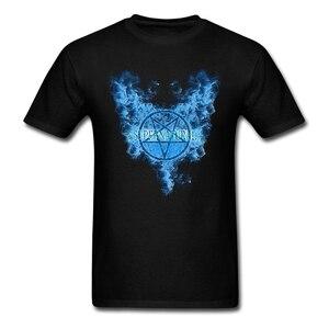 Image 1 - 남자 초자연적 인 지옥 날개 음악 투어 셔츠 착용 된 반팔 보라색 t 셔츠 남성 의류 클래식 칼라