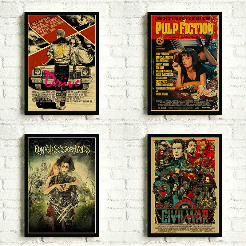 Movie Posters Batman/pulp Fiction/Hayao Miyazaki Anime Posters Retro Poster Print for Kid Room Decor Superhero Collection Poster image