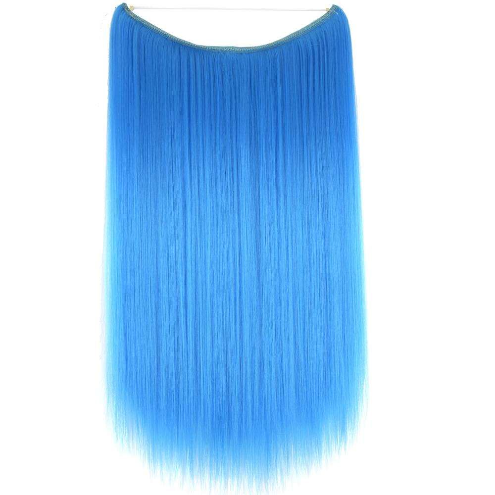 "TOPREETY Heat Resistant B5 Synthetic Fiber 24"" 60cm 110gr Straight Elasticity Invisible Wire Halo Hair Extensions(China)"