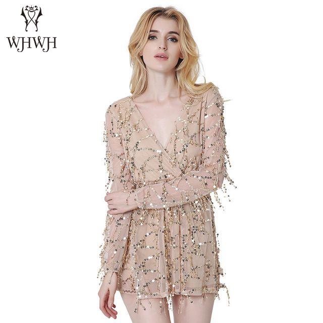New Sexy Long Sleeve Sequin Dress Tassel Summer Dress 2017 Beach Party Dress Women V Neck Plunge Vintage Dress Vestidos