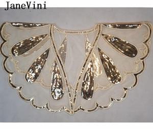 Image 5 - JaneVini brillant perles Mariage Capes haussement dépaules luxe or argent paillettes femmes boléro mariée Wrap boléro Novia Cape Mariage
