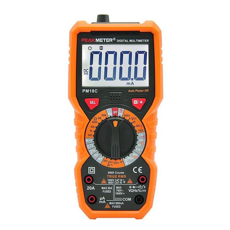 PM18C di Misura Multimetro Digitale Tensione Corrente Resistenza Capacità Frequenza Temperatura hFE NCV Linea Diretta Tester