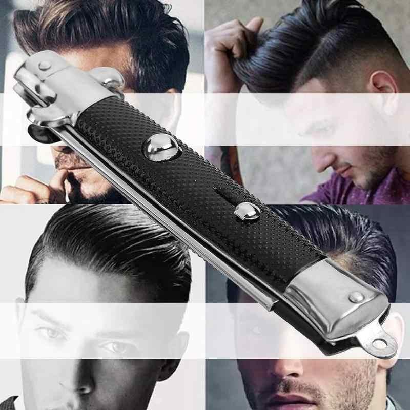 Автоматический складной нож, расческа, триммер для волос, Бабочка, мужской карманный гребень, нержавеющая сталь, пружинная щетка, инструменты для укладки